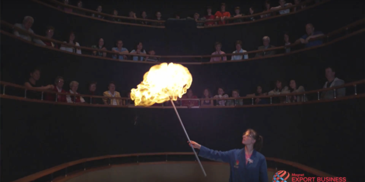 Person demonstrating experiment with fire